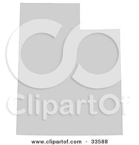 Clipart Illustration of a Gray State Silhouette Of Utah, United States, On A White Background by Jamers