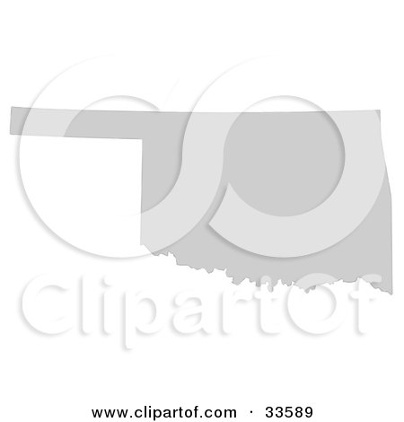 Clipart Illustration of a Gray State Silhouette Of Oklahoma, United States, On A White Background by Jamers