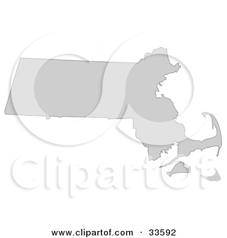 Clipart Illustration of a Gray State Silhouette Of Massachusetts, United States, On A White Background by Jamers