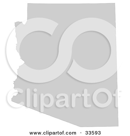 Clipart Illustration of a Gray State Silhouette Of Arizona, United States, On A White Background by Jamers