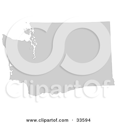 Clipart Illustration of a Gray State Silhouette Of Washington, United States, On A White Background by Jamers