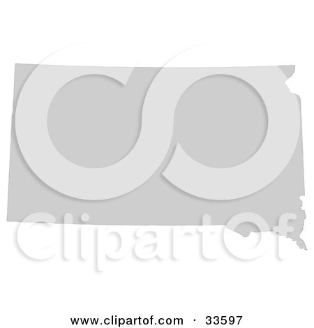 Clipart Illustration of a Gray State Silhouette Of South Dakota, United States, On A White Background by Jamers
