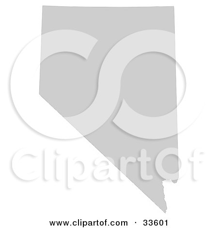 Clipart Illustration of a Gray State Silhouette Of Nevada, United States, On A White Background by Jamers
