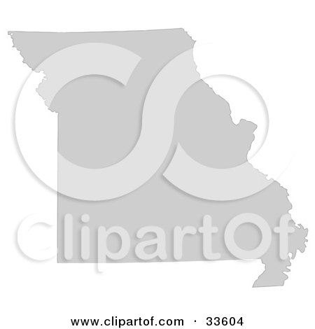 Clipart Illustration of a Gray State Silhouette Of Missouri, United States, On A White Background by Jamers