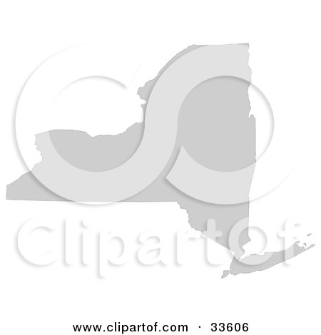 Clipart Illustration of a Gray State Silhouette Of New York, United States, On A White Background by Jamers