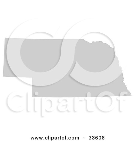 Clipart Illustration of a Gray State Silhouette Of Nebraska, United States, On A White Background by Jamers