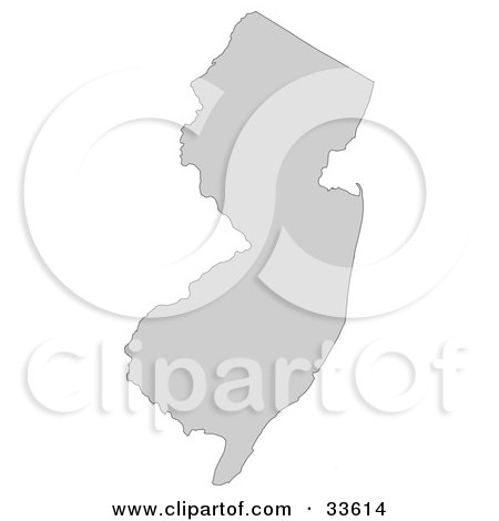 Clipart Illustration of a Gray State Silhouette Of New Jersey, United States, On A White Background by Jamers