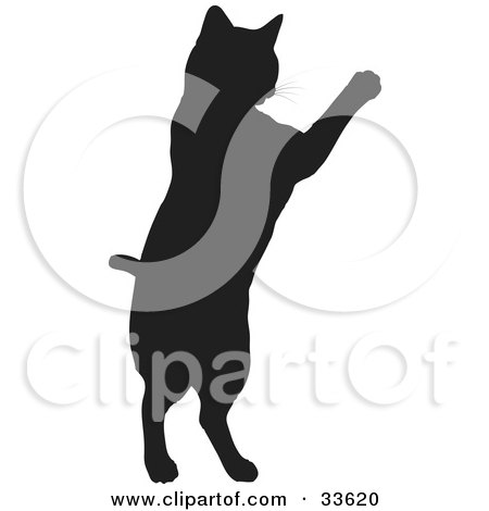 Clipart Illustration of a Black Silhouetted Feline Jumping Up by KJ Pargeter