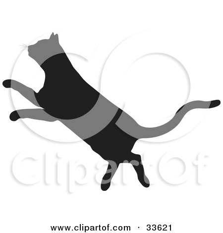 Clipart Illustration of a Black Silhouetted Feline Walking by KJ ...