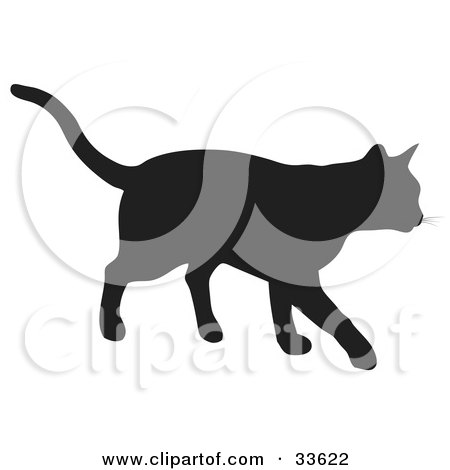 Clipart Illustration of a Black Silhouetted Feline Walking by KJ Pargeter