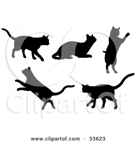 Clipart Illustration of a Set Of Silhouetted Kitty Cats Walking, Resting, Jumping And Leaping by KJ Pargeter