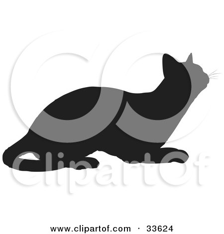Clipart Illustration of a Black Silhouetted Feline Curiously Looking Upwards by KJ Pargeter