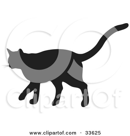Clipart Illustration of a Black Silhouetted Feline Walking In Profile by KJ Pargeter