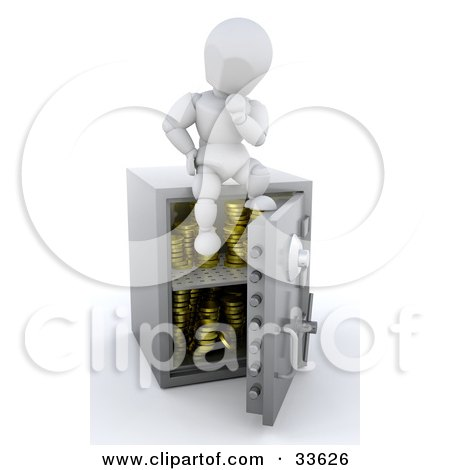 Clipart Illustation of a White Character In Thought, Sitting On Top Of His Safe With Gold Coins In It by KJ Pargeter