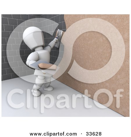 Clipart Illustation of a 3d White Character Plastering Over A Stone Wall by KJ Pargeter