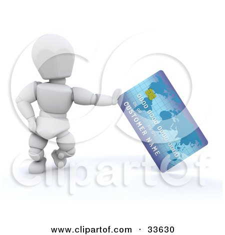 Clipart Illustration of a White Character Standing And Leaning Against A Blue Credit Card by KJ Pargeter