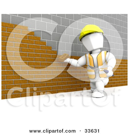 Clipart Illustation Of A White Character Worker Laying A Brick Wall Against An Old Stone Wall