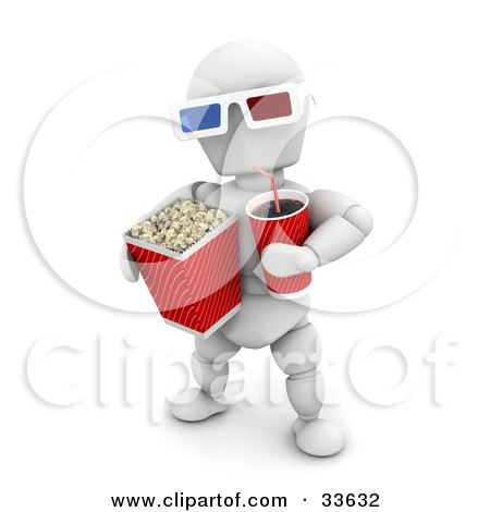 Clipart Illustation of a White Character Carrying Soda And A Bucket Of Popcorn, Wearing 3d Movie Glasses by KJ Pargeter