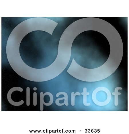 Clipart Illustation of a Misty Blue Cloud In The Darkness Of The Night Sky by KJ Pargeter