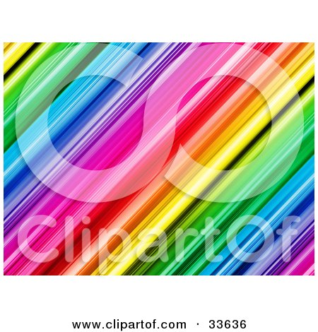 Clipart Illustation of a Colorful Diagonal Rainbow Background Of Red, Orange, Yellow, Green, Blue, Pink And Purple Bars by KJ Pargeter