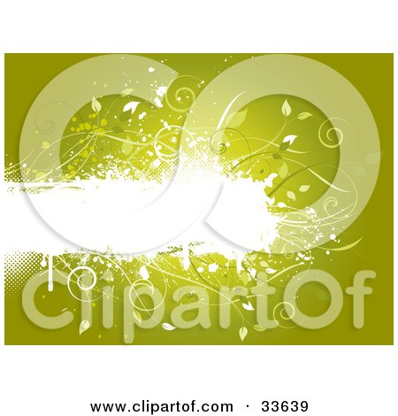 Clipart Illustation of a White Grunge Text Box With Vines And Leaves, Over A Gradient Green Background by KJ Pargeter
