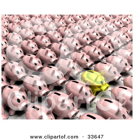 Clipart Illustation of a Golden Piggy Bank Standing Out From A Crowd Of Pink Banks In Rows by KJ Pargeter
