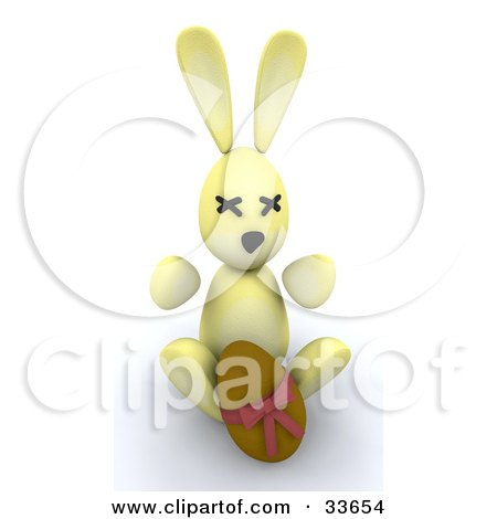 Clipart Illustation of a 3d Yellow Bunny Sitting With A Chocolate Easter Egg by KJ Pargeter