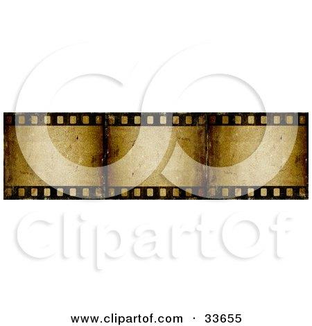 Clipart Illustation of Three Frames Of A Brown Grunge Film Strip by KJ Pargeter