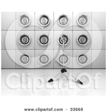 Clipart Illustation of a Microphone Stand On A Reflective Surface In Front Of A Wall Of Speakers by KJ Pargeter