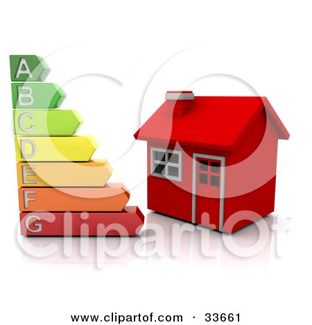 Clipart Illustation of a Colorful Energy Rating Graph Beside A Small Red Home by KJ Pargeter