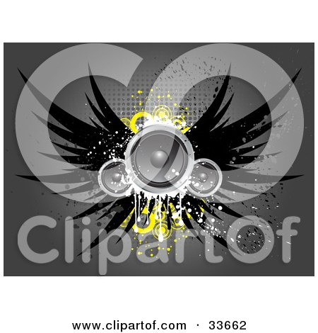 Clipart Illustation of Grungy Winged Speakers With Yellow Circles, Over A Gray Background With Dots by KJ Pargeter