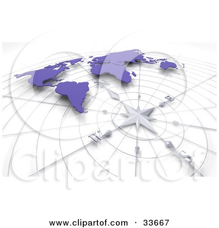 Clipart Illustation of a Compass And Grid Under A Blue World Map by KJ Pargeter