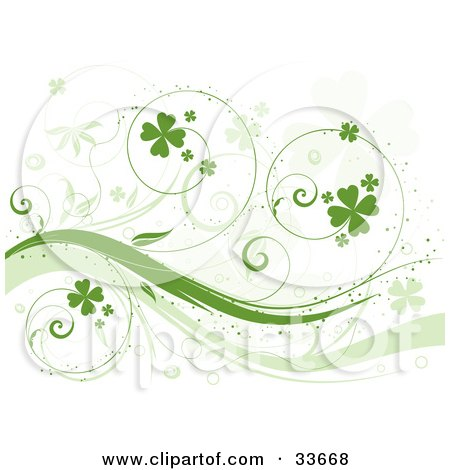 Clipart Illustation of a Curly Green Vine With Shamrocks, Over A White Background With Faded Clover Leaves by KJ Pargeter