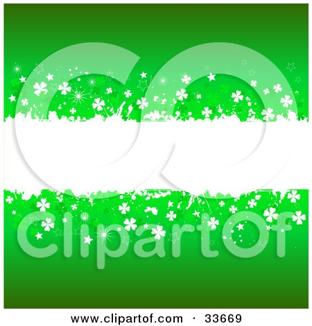 Clipart Illustation of a White Grunge Text Box Spanning The Center Of A Green Background, Bordered In White And Green Clovers by KJ Pargeter