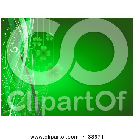 Clipart Illustation of Green Shamrocks Suspended Over A Gradient Background With Stars, Sparkles And Waves by KJ Pargeter