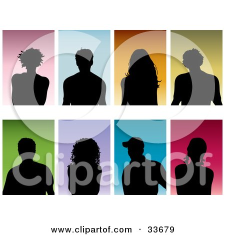 Set Of Eight Silhouetted Men And Women On Colorful Backgrounds Posters, Art Prints