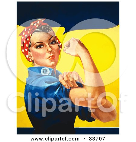 Clipart Illustration of a Tough Woman In A Bandana, Flexing Her Bicep by JVPD