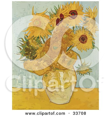 Clipart Illustration of a Vase Full Of Sunflowers, Original By Vincent Van Gogh by JVPD