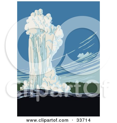 Clipart Illustration of Old Faithful In Action, Yellowstone National Park, Wyoming by JVPD