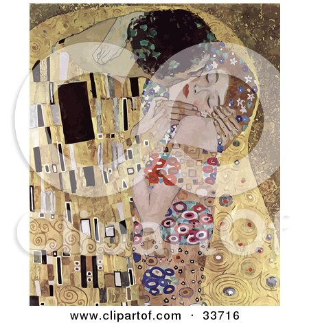 Abstract Couple Kissing And Embracing, Original Titled The Kiss By Gustav Klimt Posters, Art Prints