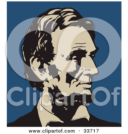 Clipart Illustration of Abraham Lincoln In Profile, In Black And Beige, Over A Blue Background by JVPD