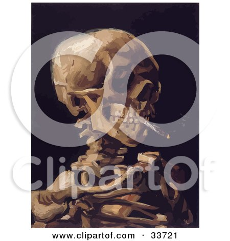Clipart Illustration Of A Skeleton Smoking A Cigarette Over A Black Background Original By Vincent Van Gogh