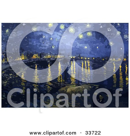 Clipart Illustration of The Starry Night Over The Rhone In Arles, Original By Vincent Van Gogh by JVPD