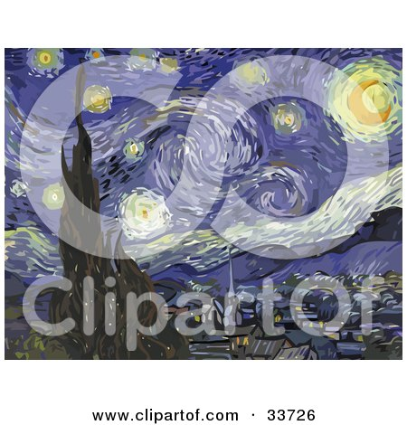 Clipart Illustration of The Starry Night, Original By Vincent Van Gogh by JVPD