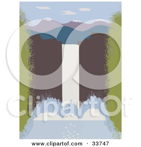 Clipart Illustration of a Large Waterfall With Water Rushing Over A Cliff, Mountains In The Distance by JVPD