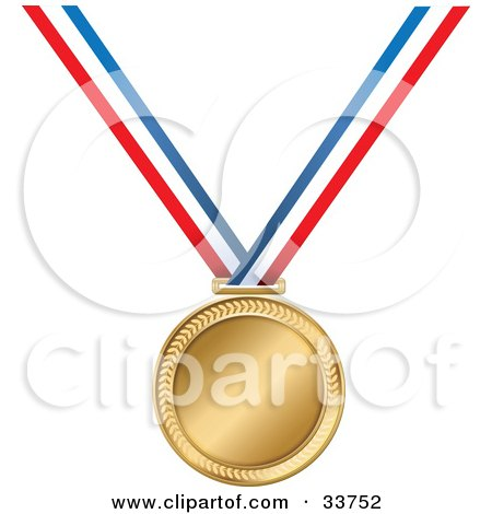 Clipart Illustration of a Golden Medal On A Red, White And Blue Ribbon by Maria Bell