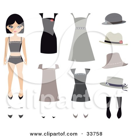 Clipart Illustration of a Caucasian Girl, A Paper Doll, With Shoes, Hats And Dresses by Melisende Vector