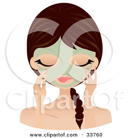 Clipart Illustration of a Relaxed Caucasian Woman With Her Hair In A Braid, Touching The Green Seaweed Mask On Her Face by Melisende Vector
