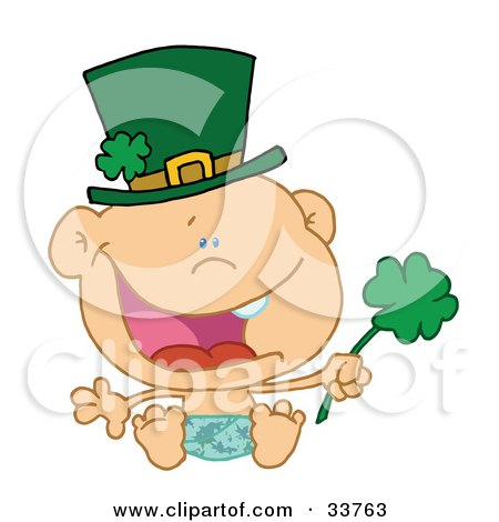 Clipart Illustration of a Baby St Patrick's Day Boy In A Diaper And Hat, Holding A Shamrock by Hit Toon