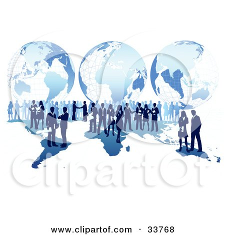 Clipart Illustration of Business Men And Women Conducting Global Business Over A Blue Map With A Grid Globe Background, Over White by Tonis Pan